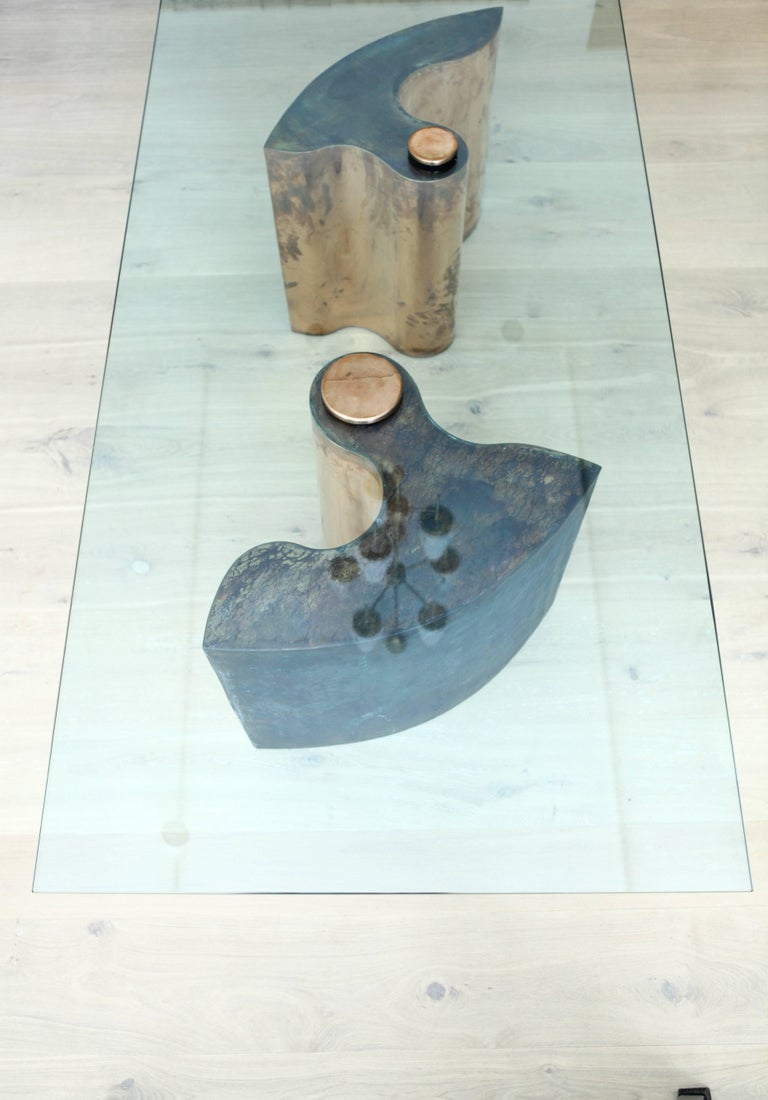 Unique Table, Brass Copper-Plated, Colorless Glass For Sale 1