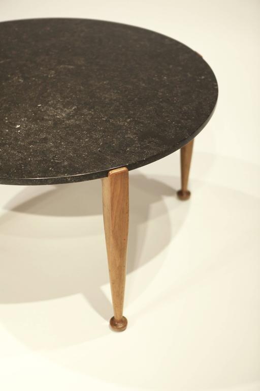 Scandinavian Modern Josef Frank Coffee Table in Black Marble and Walnut, 1950 For Sale