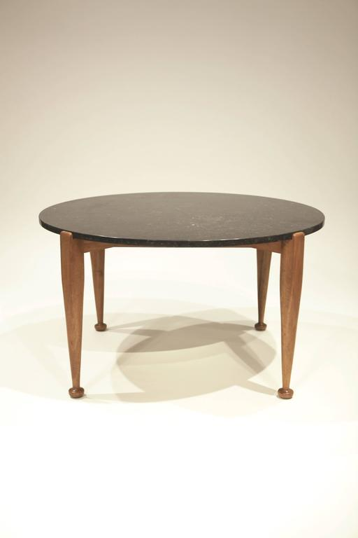 Swedish Josef Frank Coffee Table in Black Marble and Walnut, 1950 For Sale