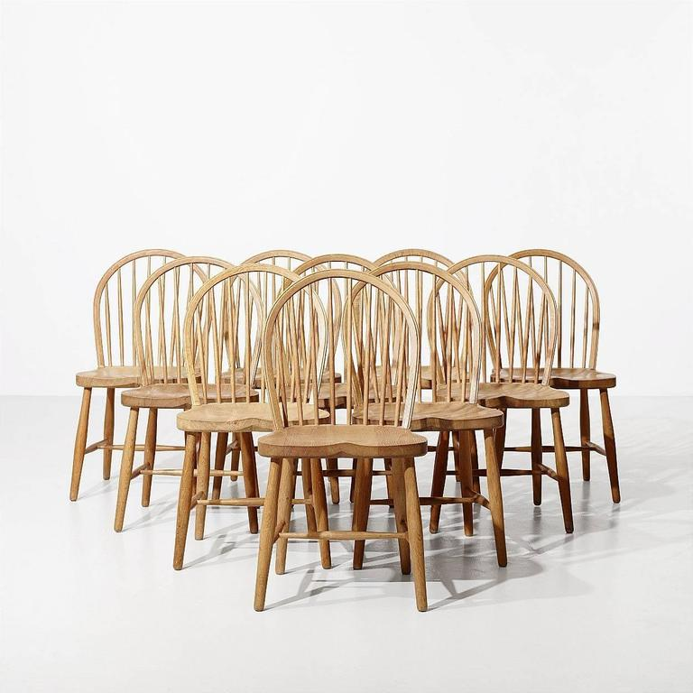 frits henningsen ten oak dining chairs denmark 1950s
