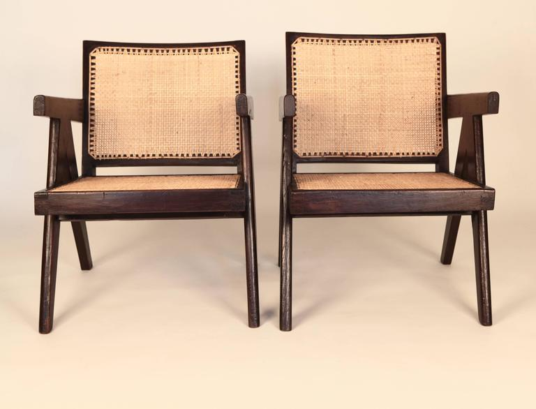 Mid-Century Modern Pierre Jeanneret, Pair of Easy Armchairs, Chandigarh, India, 1955 For Sale