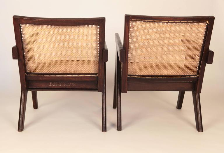 Indian Pierre Jeanneret, Pair of Easy Armchairs, Chandigarh, India, 1955 For Sale