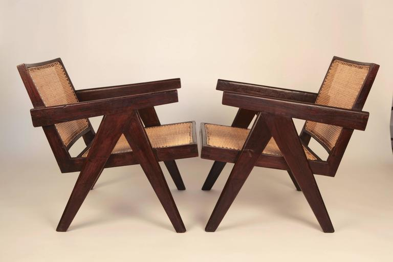 Stained Pierre Jeanneret, Pair of Easy Armchairs, Chandigarh, India, 1955 For Sale