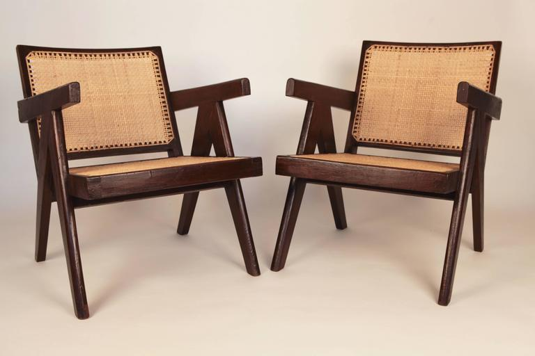Pierre Jeanneret, Pair of Easy Armchairs, Chandigarh, India, 1955 In Excellent Condition For Sale In Hamburg, Hamburg