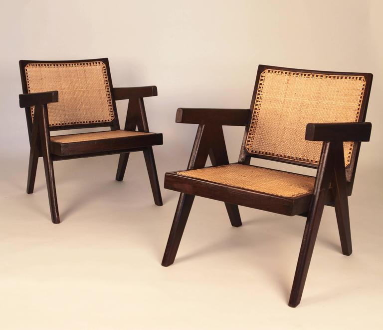 Mid-20th Century Pierre Jeanneret, Pair of Easy Armchairs, Chandigarh, India, 1955