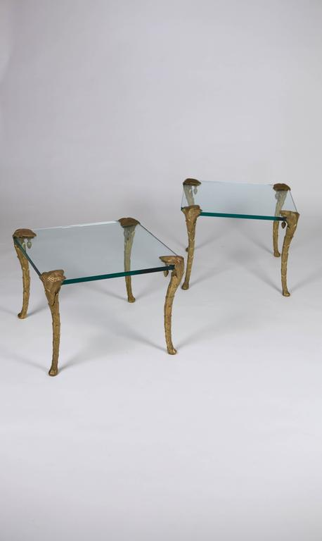Maison Charles, Pair of Bronze and Glass Coffee Tables 2