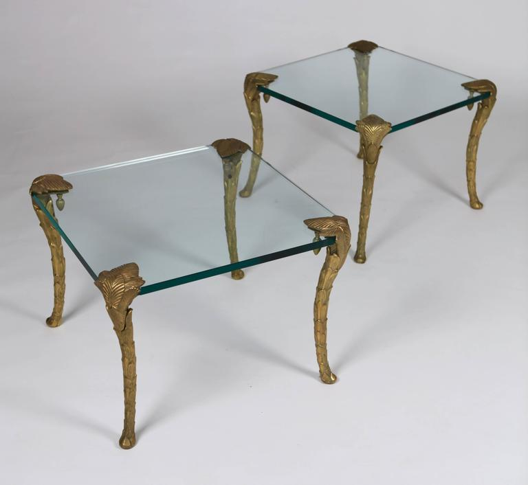 Maison Charles, Pair of Bronze and Glass Coffee Tables 7