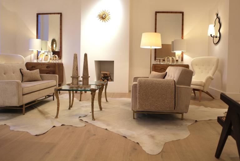 Maison Charles, Pair of Bronze and Glass Coffee Tables 8