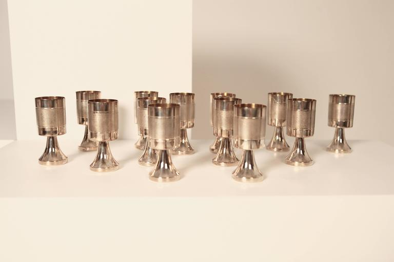 Scandinavian Modern Sterling Silver and Gilded Champagne Cups, Sweden, 1970s For Sale