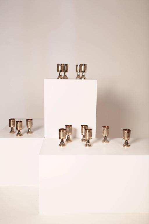 Gold Plate Sterling Silver and Gilded Champagne Cups, Sweden, 1970s For Sale