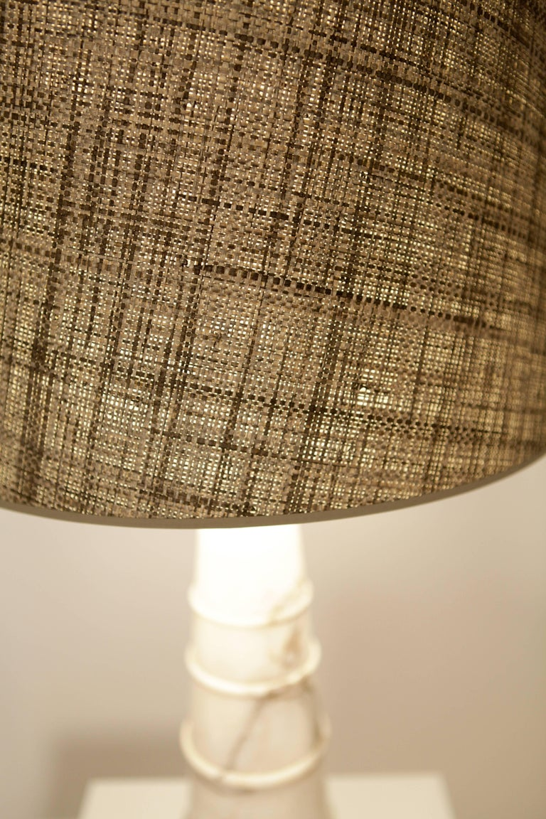 White Carrara-Marble Table Lamp, Italy 1970 In Excellent Condition For Sale In Hamburg, Hamburg
