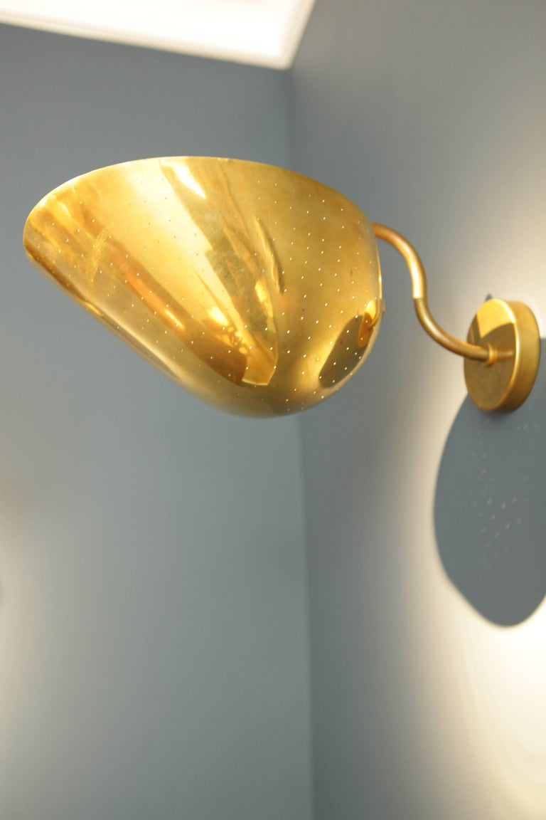 Scandinavian Modern Carl-Axel Acking, Pair of Large Brass Sconces, Sweden, 1940s For Sale