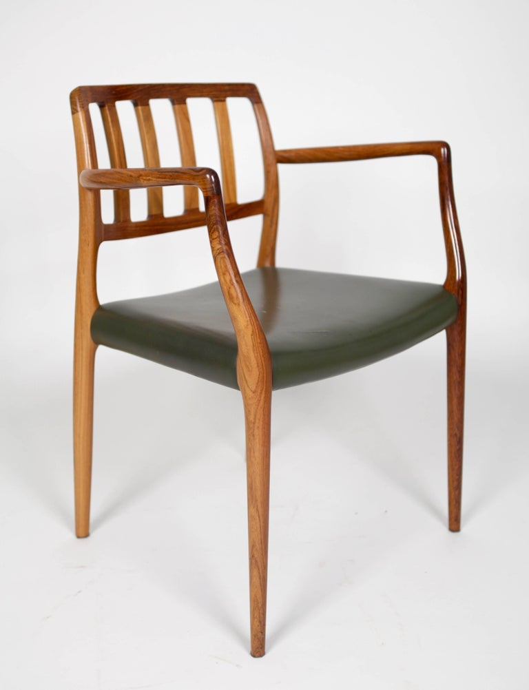 Scandinavian Modern Niels O. Møller, Set of Six East Indian Rosewood Dining Chairs For Sale