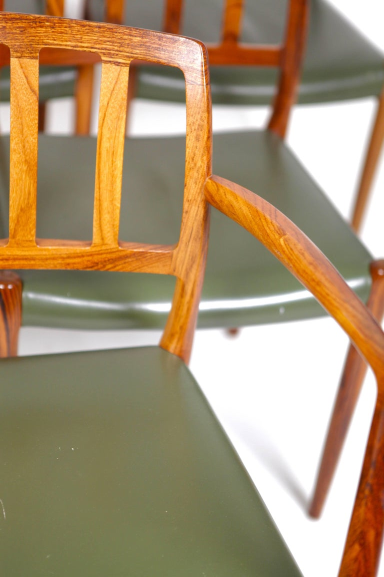 Danish Niels O. Møller, Set of Six East Indian Rosewood Dining Chairs For Sale