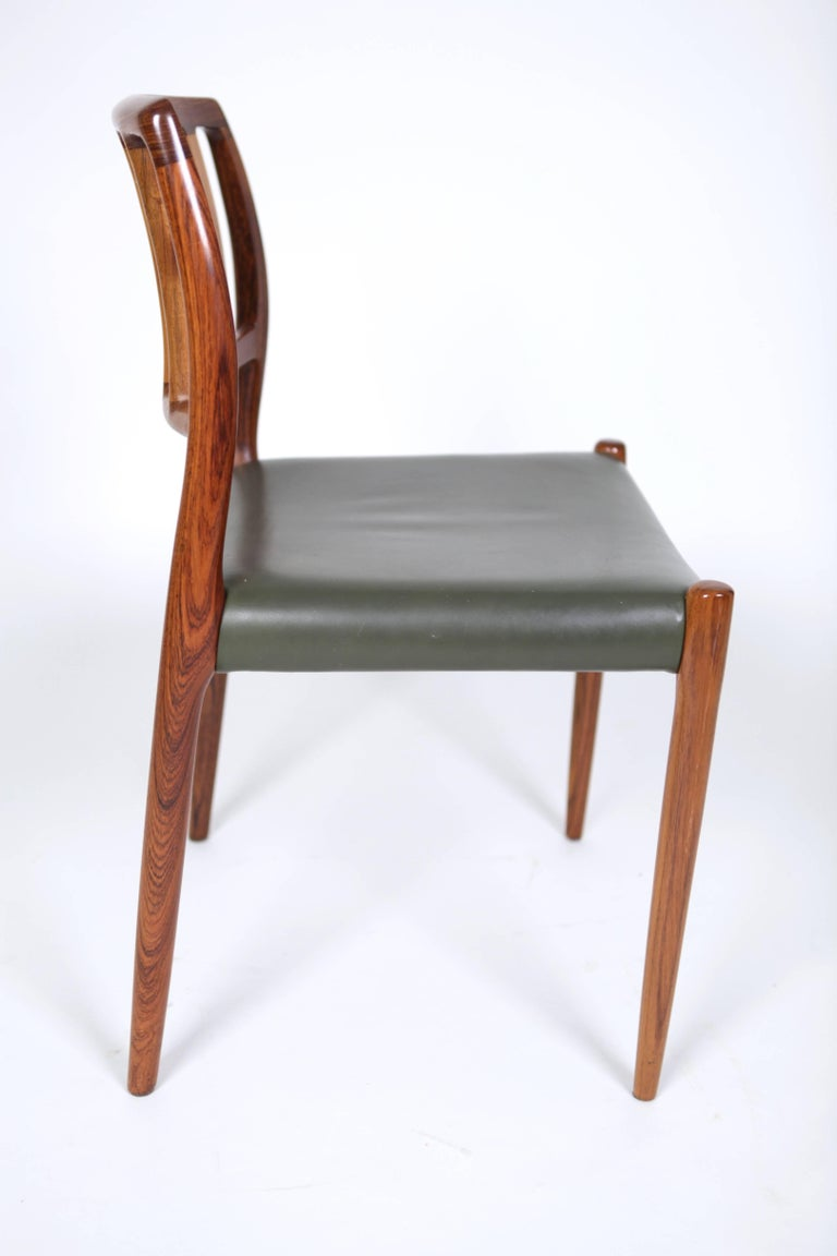 Leather Niels O. Møller, Set of Six East Indian Rosewood Dining Chairs For Sale
