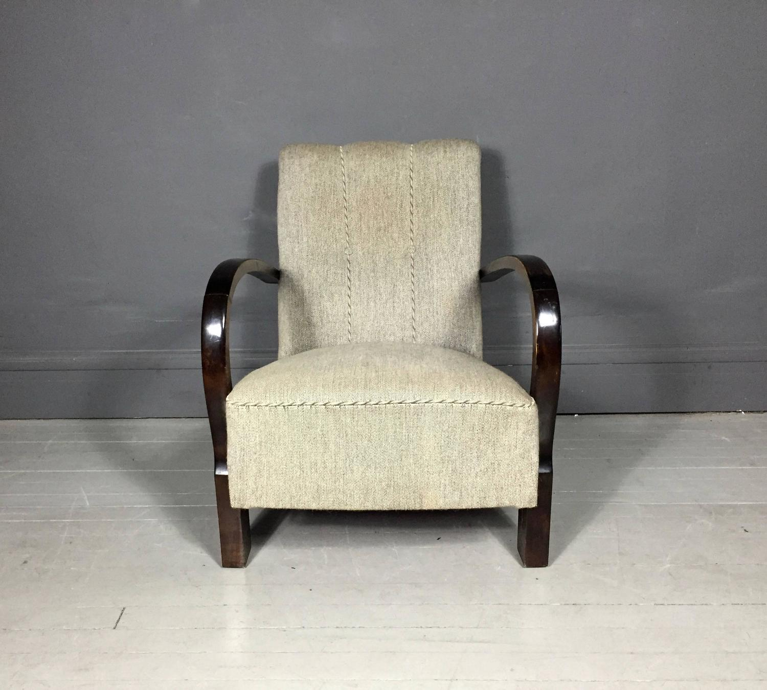 Danish Curved Arm Beech Lounge Chair Wool Fabric 1940s at 1stdibs
