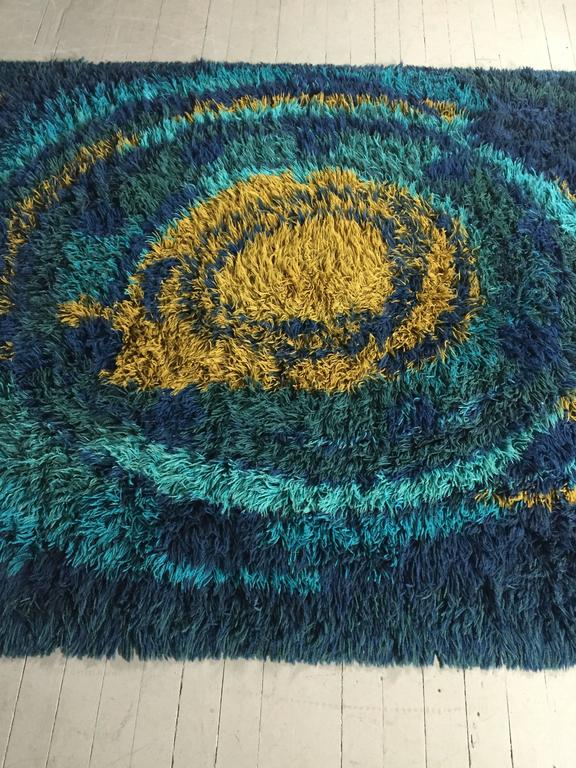 1970s Swedish Rya Low Pile Wool Shag Area Rug For Sale At