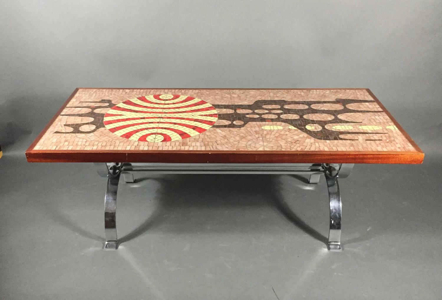 Artisan Mosaic Tile And Chromed Steel Coffee Table Germany 1970s At 1stdibs