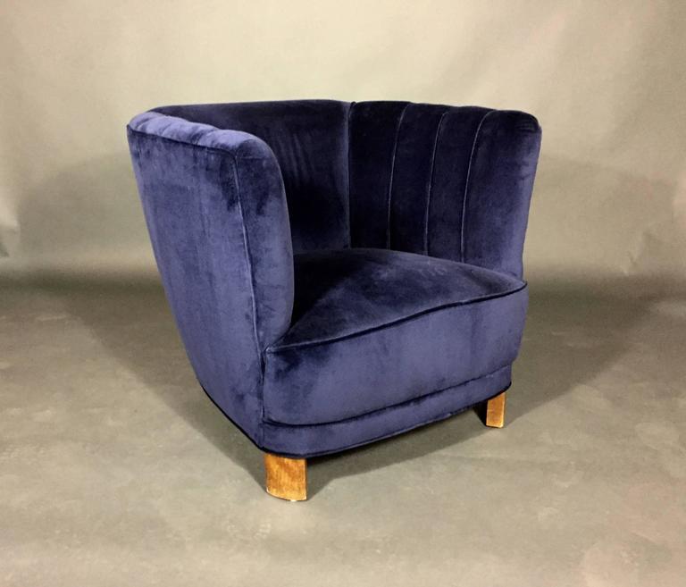 Navy Velvet Club Chair: Curved Arm Club Chair In New Navy Velvet, Denmark, 1940