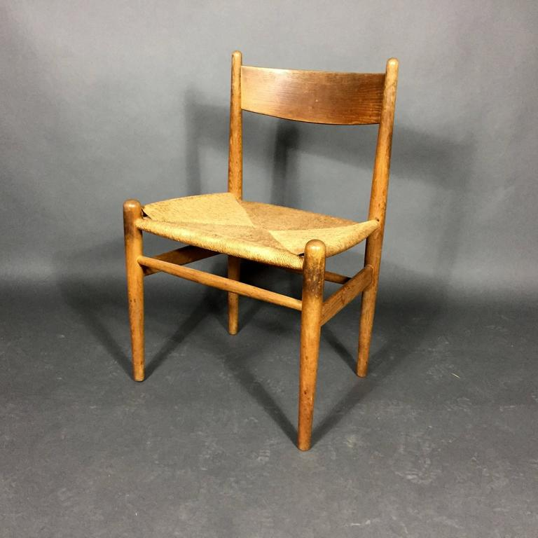 Hans J. Wegner Oak and Papercord Dining Chairs CH36, Denmark, 1962 In Good Condition For Sale In Hudson, NY