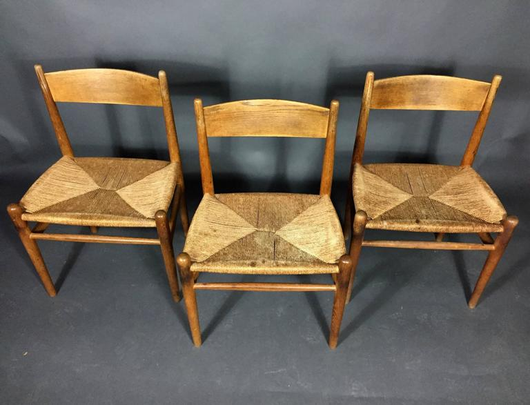 Hans J. Wegner Oak and Papercord Dining Chairs CH36, Denmark, 1962 6