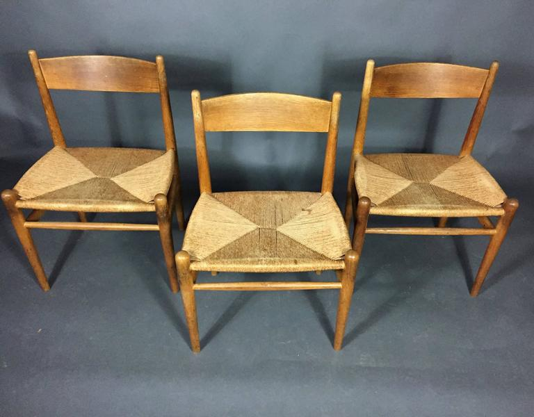 Hans J. Wegner Oak and Papercord Dining Chairs CH36, Denmark, 1962 7
