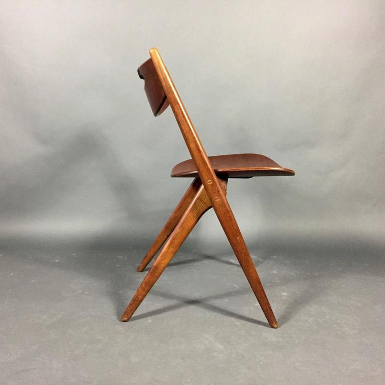 arne oak and plastic wrap chair denmark 2
