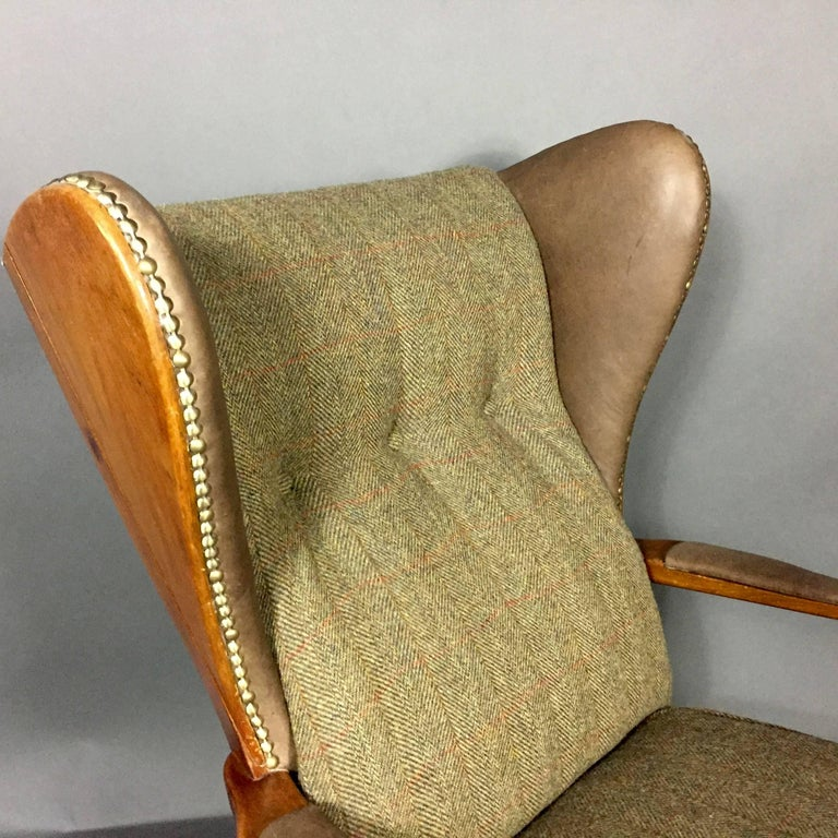 Danish Quot Jum Quot Wingback Chair And Ottoman 1940 Harris Tweed