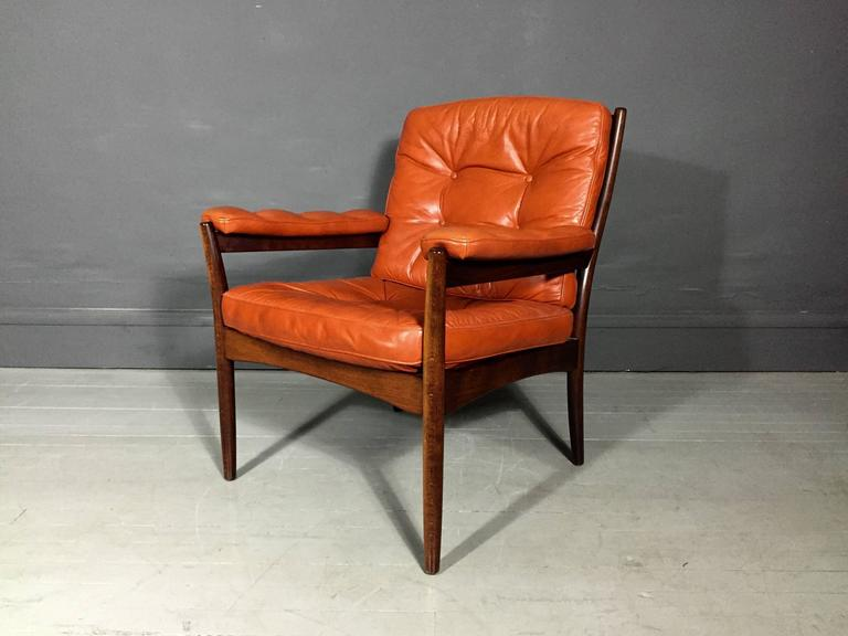 Perfect Vintage Scandinavian Design Rusk/orange Leather Armchair By  Göte Möbler, With Ultra