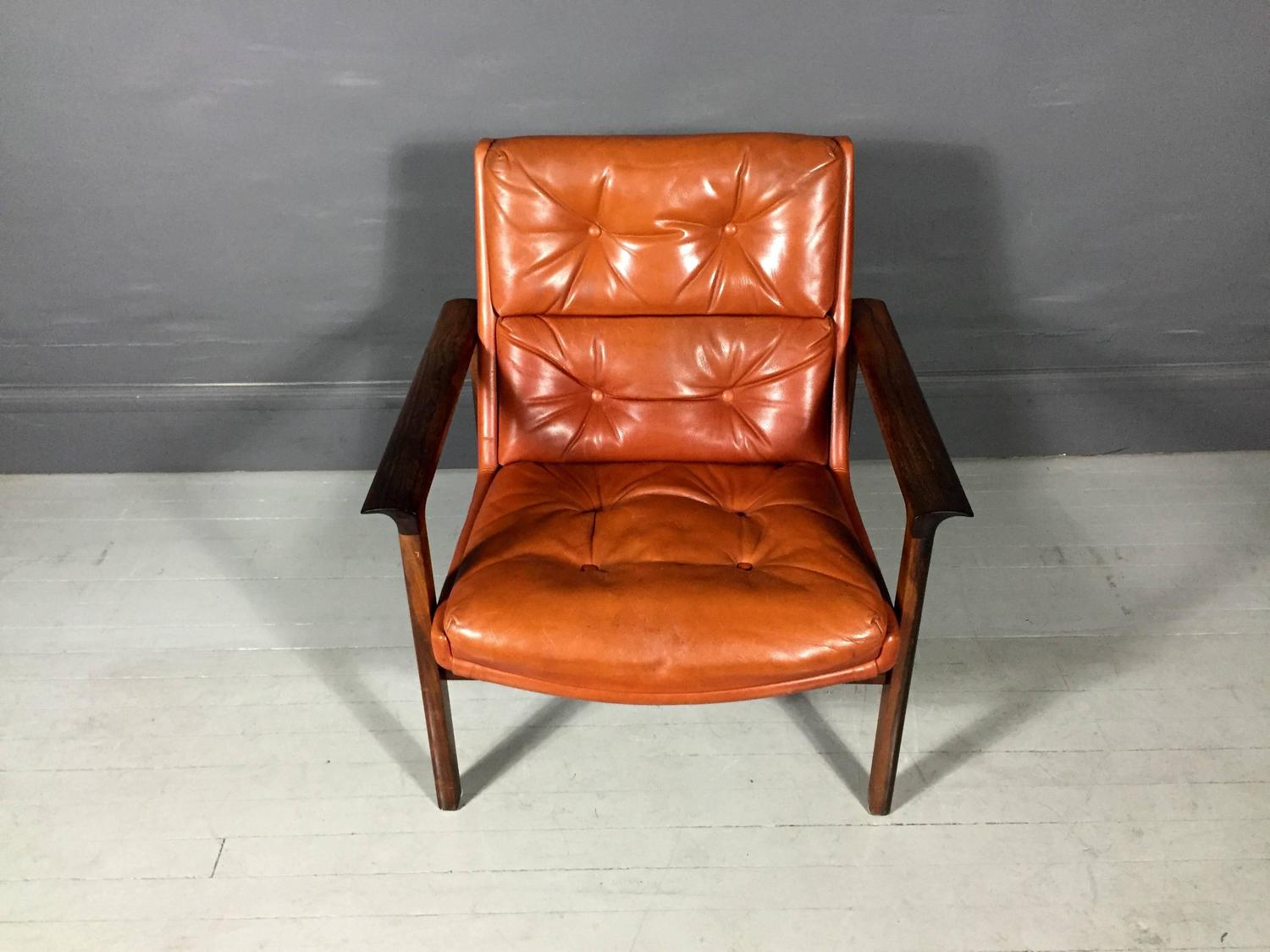 Rosewood and Orange Leather Lounge Chair Fredrik Kayser Norway 1959 at 1st