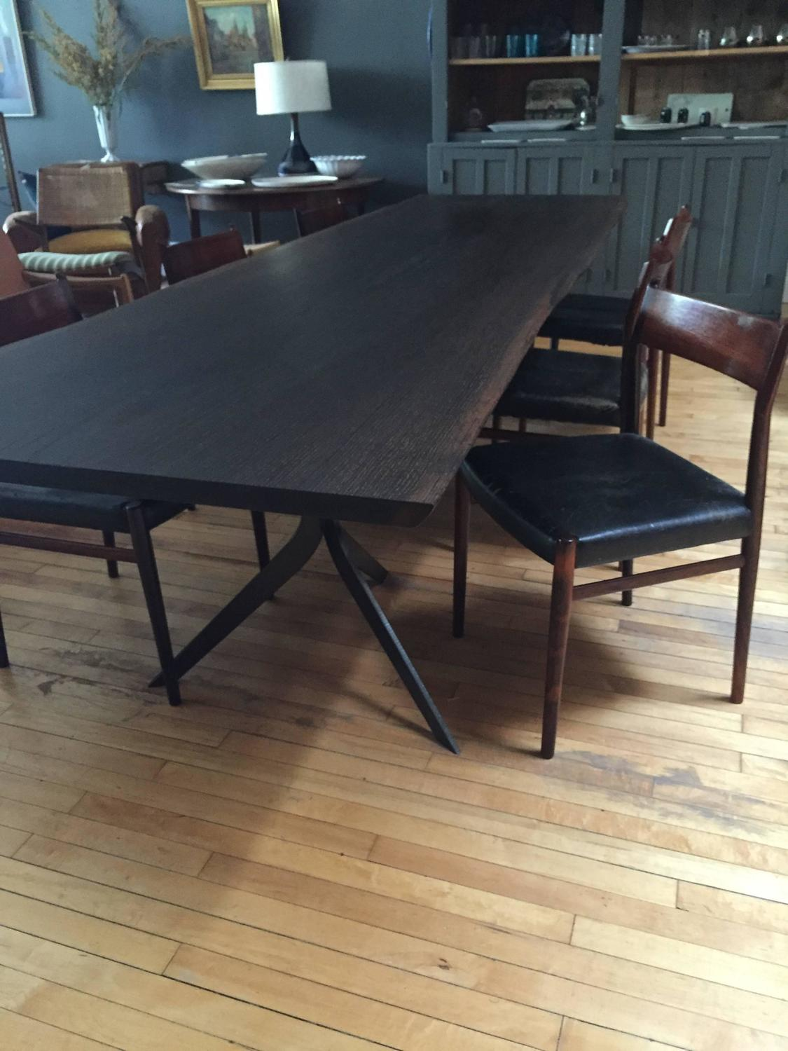 10ft live edge blackened red oak and steel dining table by for 10 ft dining table sale