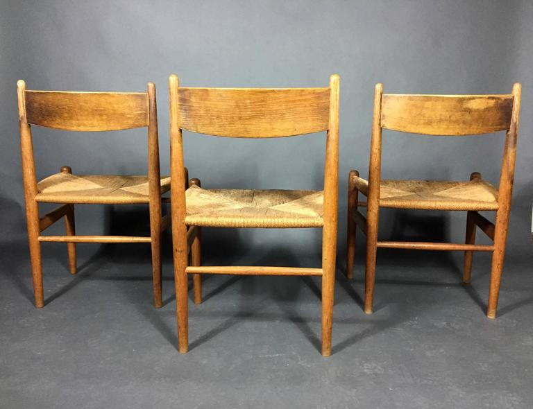 Hans J. Wegner Oak and Papercord Dining Chairs CH36, Denmark, 1962 For Sale 2