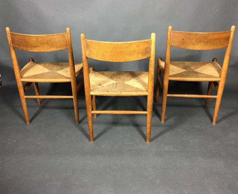 Hans J. Wegner Oak and Papercord Dining Chairs CH36, Denmark, 1962 For Sale 3