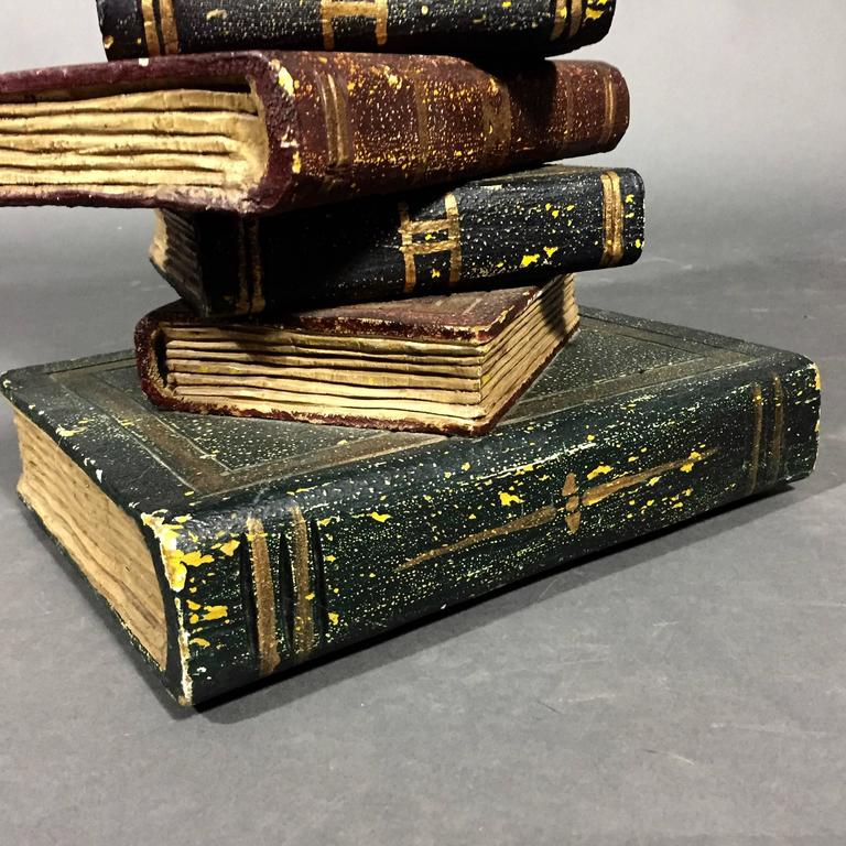 Faux Stacked Book Sculptural Wood Side Table At 1stdibs