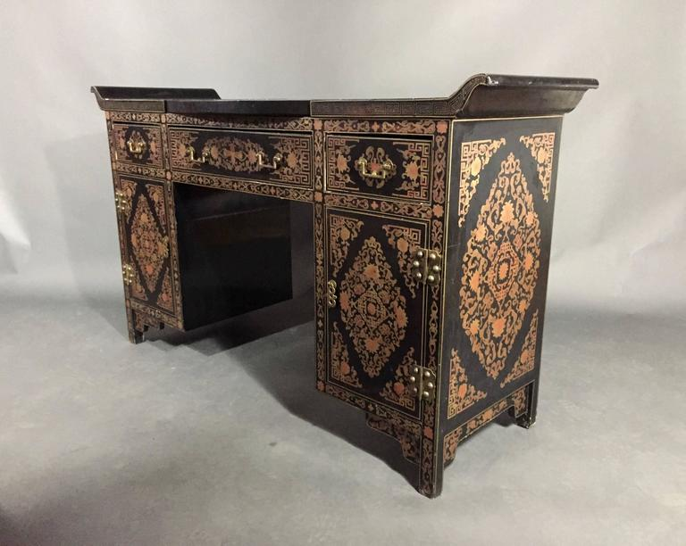 An Intricately Red/gold Decorated Black Lacquer Chinese Dressing Table With  Flip Up Mirror