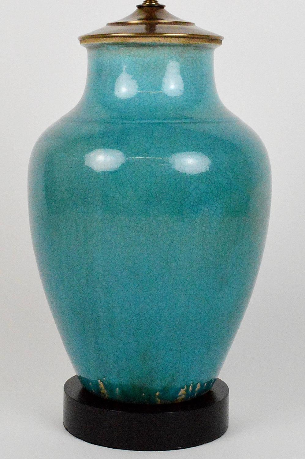 Turquoise Pottery Vase Mounted As A Lamp For Sale At 1stdibs