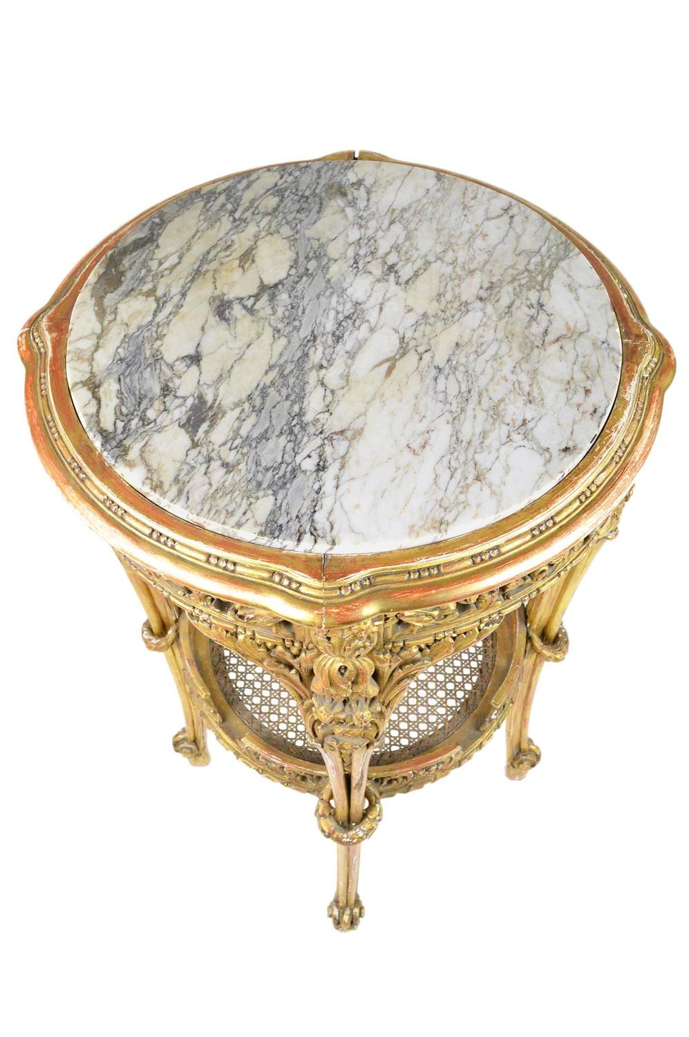 French baroque style giltwood marble top table for sale at for French baroque style