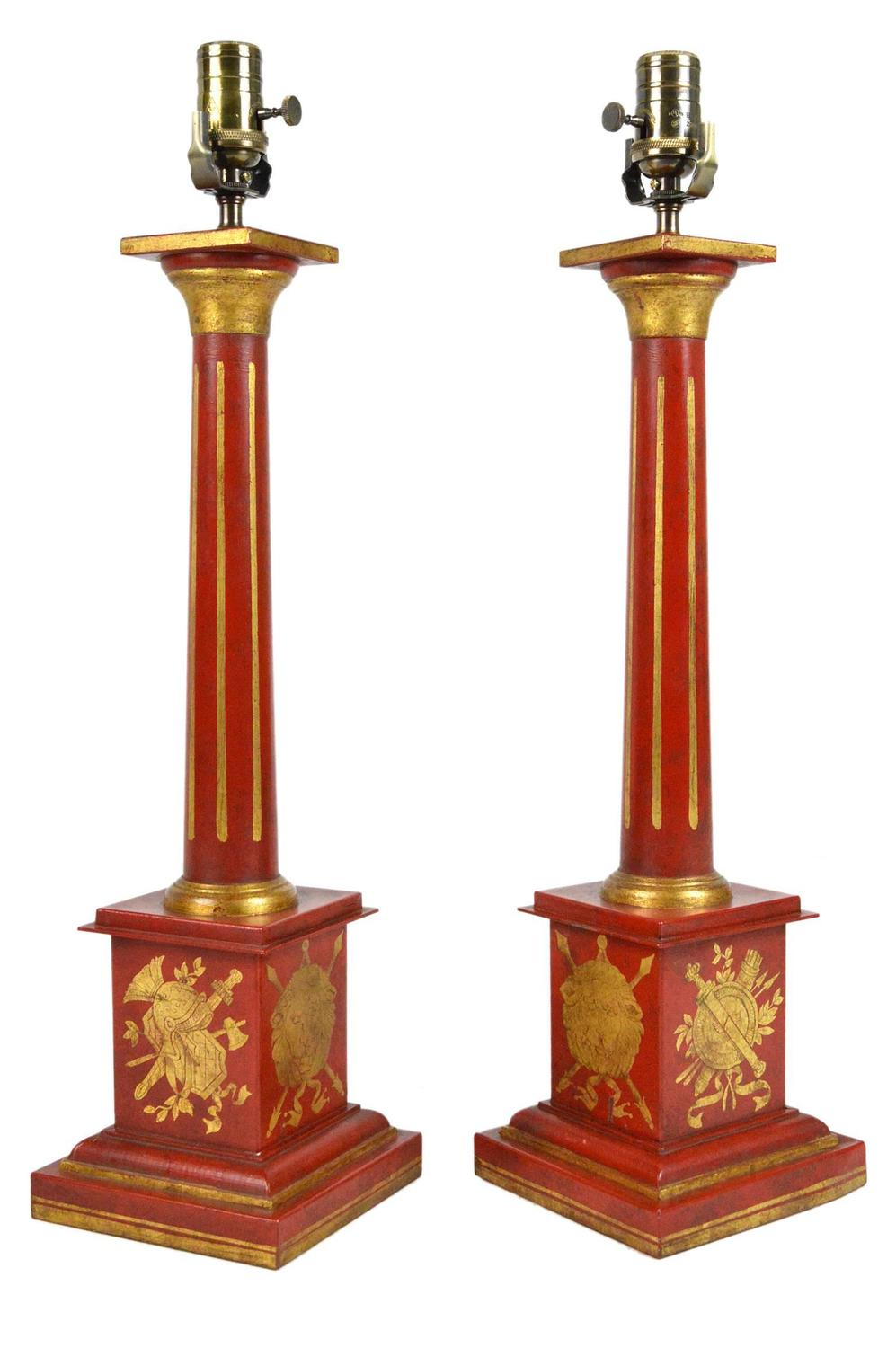 pair of empire style red tole table lamps for sale at 1stdibs. Black Bedroom Furniture Sets. Home Design Ideas