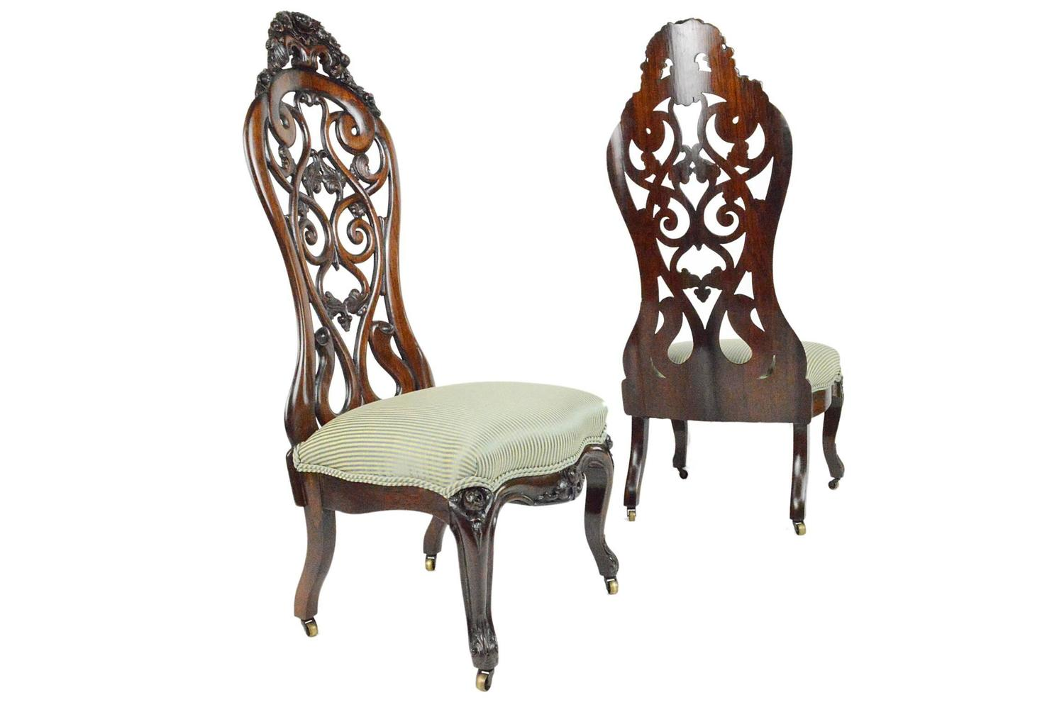 Pair Of Rococo Revival Rosewood Slipper Chairs In The Rosalie Pattern