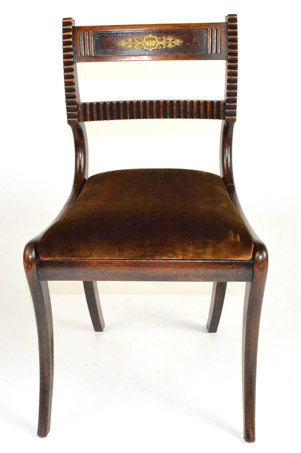 Regency Style Chairs ~ Set of six english regency style side chairs at stdibs