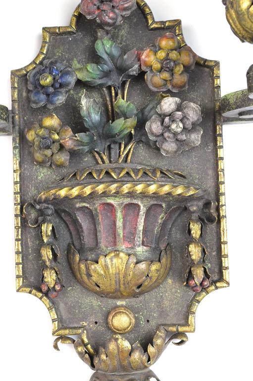 French Pair of Painted and Gilt Iron Two-Arm Wall Light Sconces For Sale