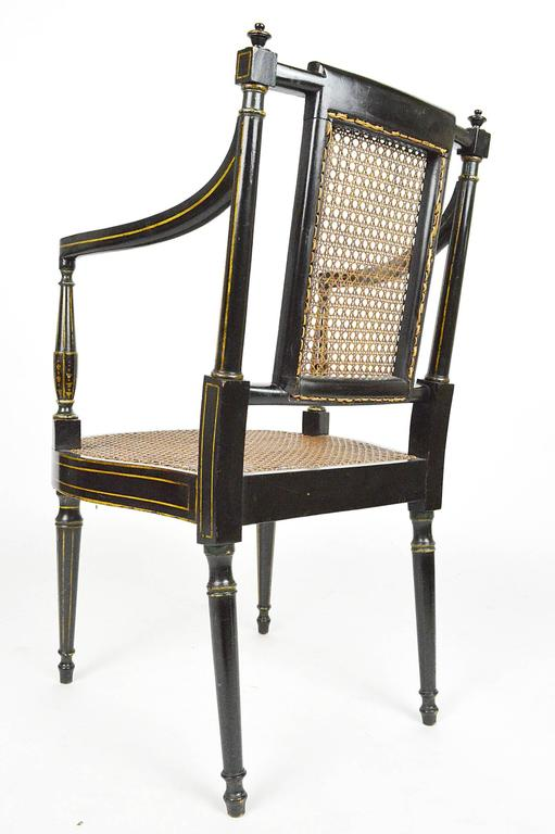 Pair 19th Century English Regency Cane Seat Armchairs At