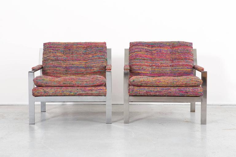 """Flat bar lounge chairs  Designed by Cy Mann  USA, circa 1970s  Reupholstered natural cotton weave blend (85% silk + 15% cotton)  Measures: 29 ¼"""" H x 29 7/16"""" W x 31 ¾"""" D x seat 21 ¼"""" H  Sold as a set  Fabric sample can be provided upon request"""
