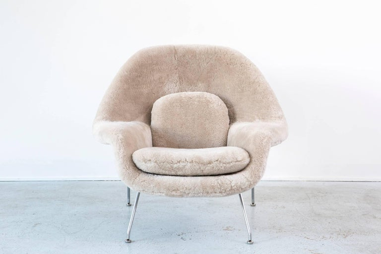 Womb chair  Designed by Eero Saarinen for Knoll  USA, d 1948 / circa 1960s  Reupholstered in wool shearling 35 ½