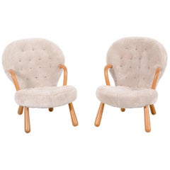 Set of Clam Chairs by Phillip Arctander Freshly Reupholstered in Sheepskin