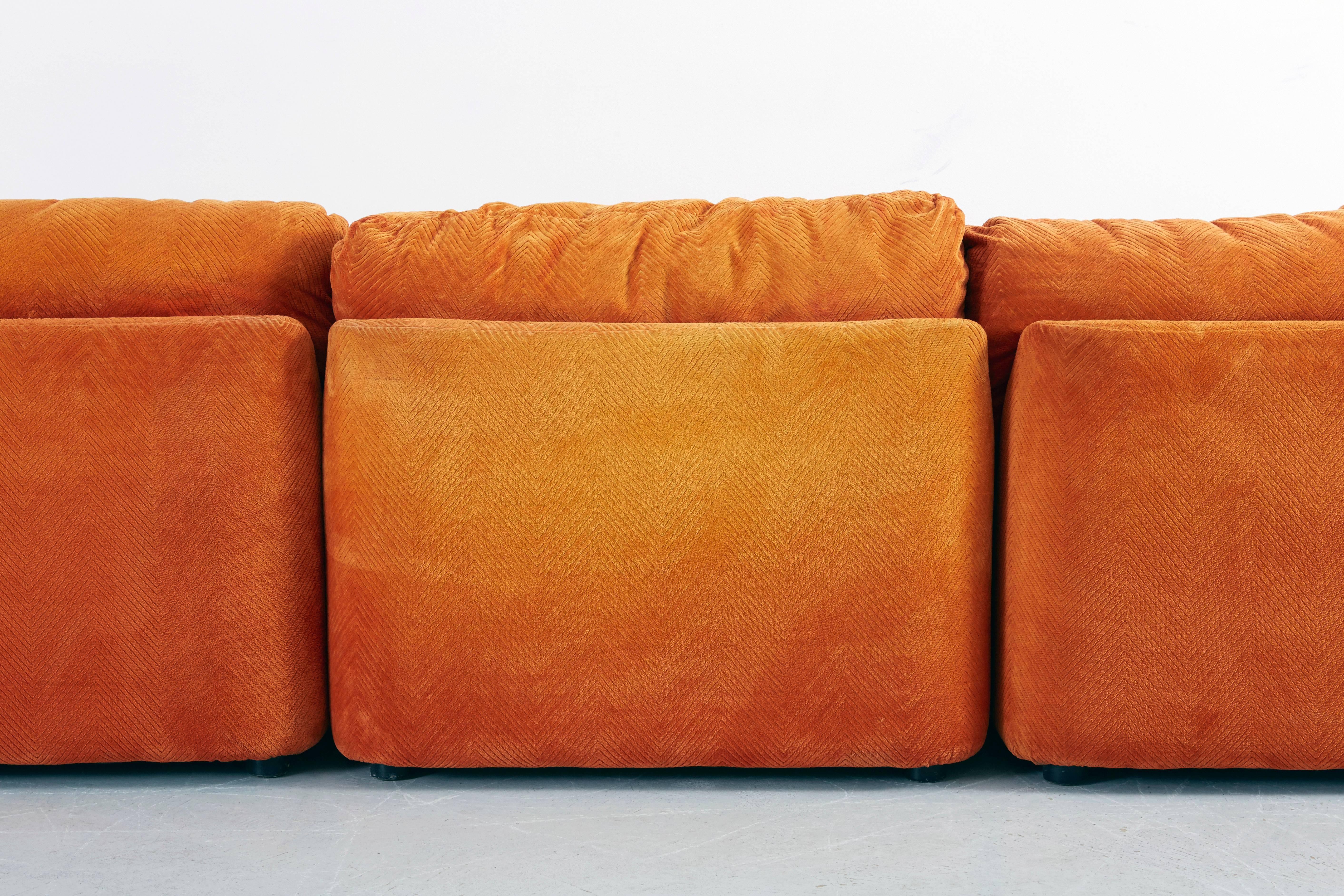 corner pin leather above sectional sofa living black table cushions floor fur sweeten the plus room rug orange white attracting with on wooden