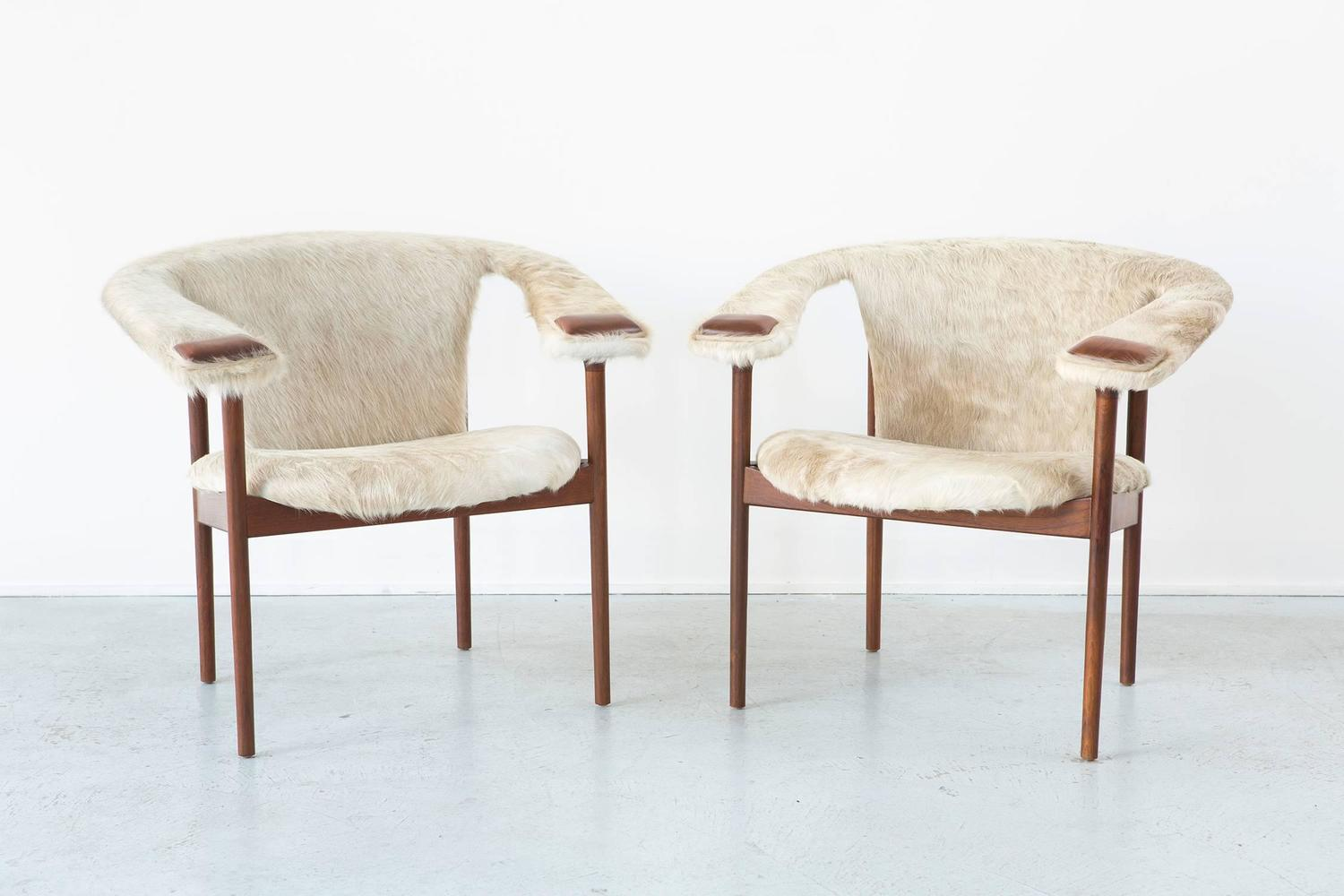 Rare set of adrian pearsall lounge chairs reupholstered in for Reupholstered chairs for sale