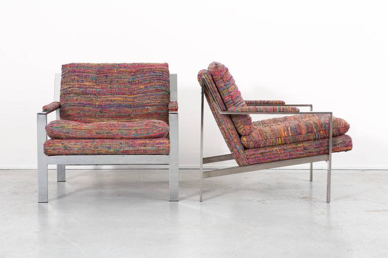 Modern Set of Cy Mann Flat Bar Lounge Chairs Freshly Reupholstered For Sale