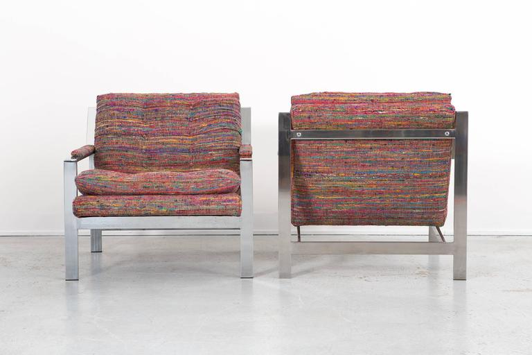 American Set of Cy Mann Flat Bar Lounge Chairs Freshly Reupholstered For Sale