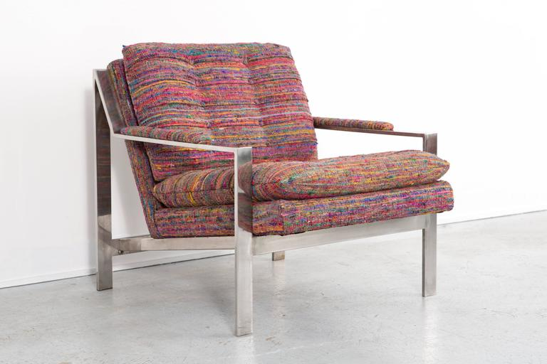 Metal Set of Cy Mann Flat Bar Lounge Chairs Freshly Reupholstered For Sale